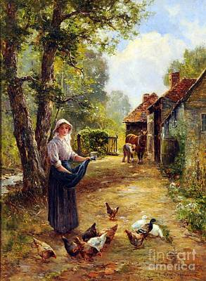 Painting - Feeding The Fowl by Celestial Images