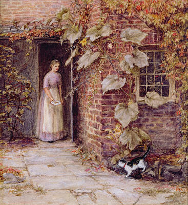 Farmyard Painting - Feeding The Kitten by Helen Allingham