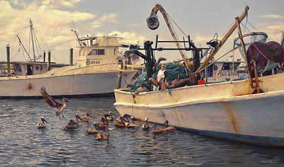 Photograph - Feeding The Pelicans by Glenn Gemmell