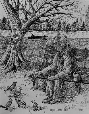 Drawing - Feeding The Pigeons by Larry Whitler