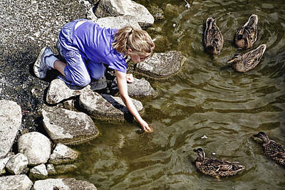 Photograph - Feeding The Quackers by Cameron Wood