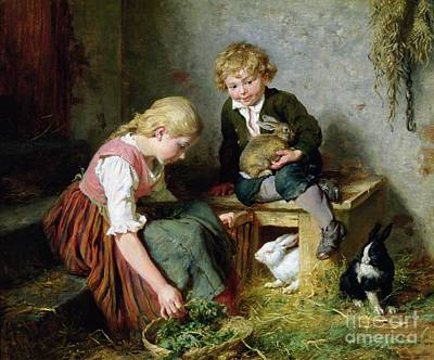 Feeding Young Painting - Feeding The Rabbits by Felix Schlesinger