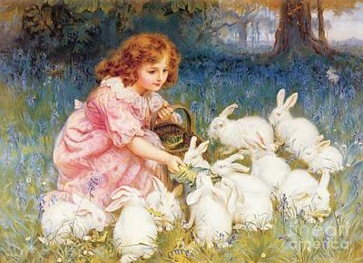 Feminine Painting - Feeding The Rabbits by Frederick Morgan