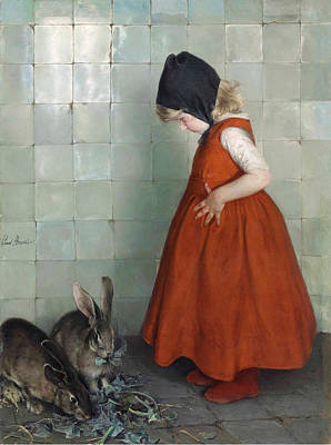 Painting - Feeding The Rabbits by Paul Hoecker