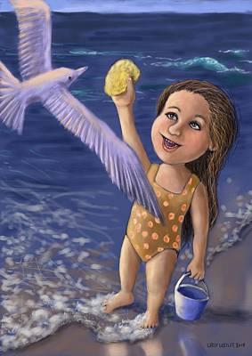 Digital Art - Feeding The Seagull by Larry Whitler