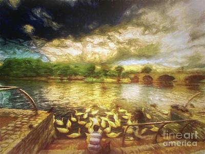 Digital Art - Feeding The Swans by Leigh Kemp