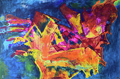 Incarnation Painting - Feeding The Yellow Animal by Aatmica Ojha