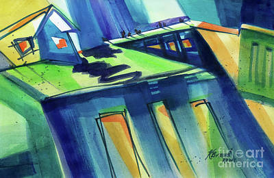 Feedmill In Blue And Green Original by Kathy Braud