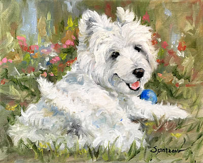 Westie Painting - Feeling Cheeky by Mary Sparrow