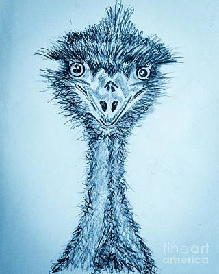 Emu Drawing - Feeling Emused And Blue by TeeJayBee Art