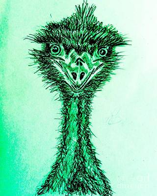 Emu Drawing - Feeling Emused Green by TeeJayBee Art