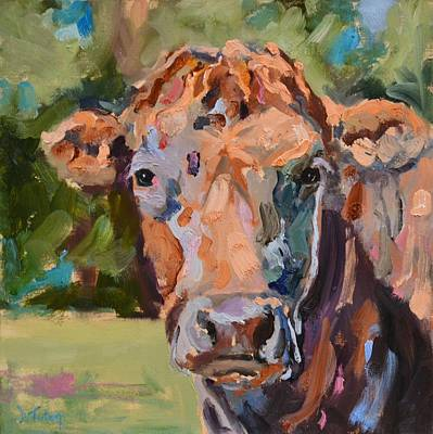 Painting - Feeling Peachy Cow Painting by Donna Tuten