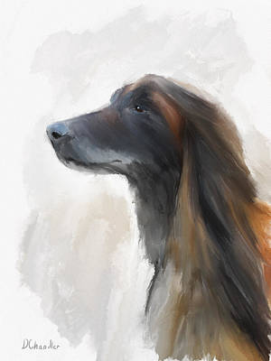 Afghan Hound Watercolor Painting - Feeling The Breeze by Diane Chandler