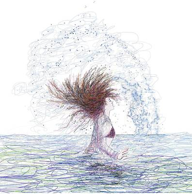 Digital Art - Feeling The Energy Of The Sea Sketch by OLena Art Brand