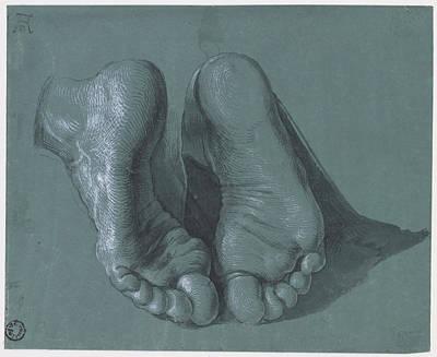 Duerer Drawing - Feet Of A Kneeling Apostle by Albrecht Duerer