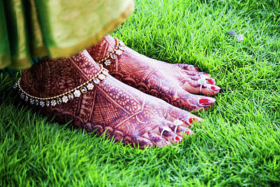 Red Nail Polish Photograph - Feet With Mehndi On Grass by Athul Krishnan (www.athul.in)