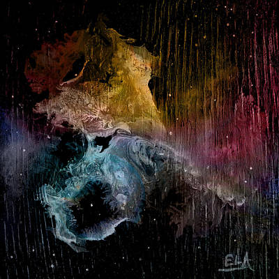 Deep Space Art Painting - Feisty Nebula by Art By Ela