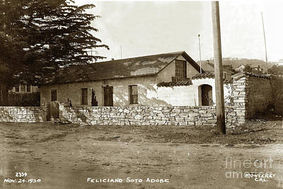 Photograph - Feliciano Soto Adobe, Monterey Nov 24, 1930 by California Views Mr Pat Hathaway Archives