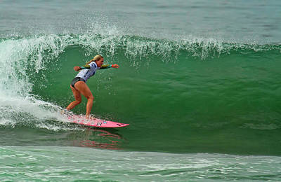 Photograph -  Felicity Palmateer Surfing by Waterdancer