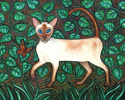 Folk Art Cat Painting - Felina And The Monarch by Linda Mears