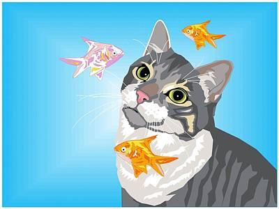 Goldfish Digital Art - Feline Fantasy by Sarah Crumpler