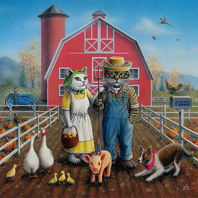 Painting - Feline Farming by Don Roth