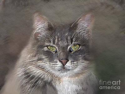 Watercolor Pet Portraits Digital Art - Feline Friend - Pet Portraiture by Linda Ouellette