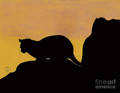 Drawing - Feline Silhouette Sunset by D Hackett