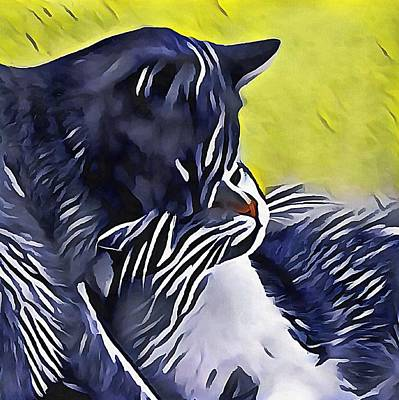 Digital Art - Feline Sisters by Dorothy Berry-Lound