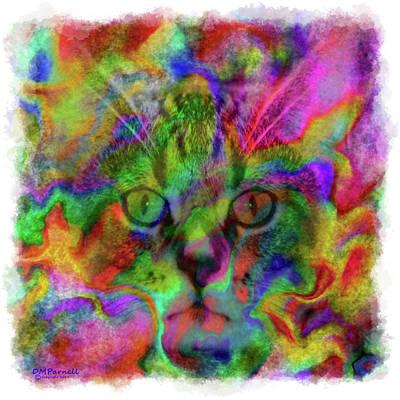 Watercolor Pet Portraits Digital Art - Feline Splendor Edged by Diane Parnell