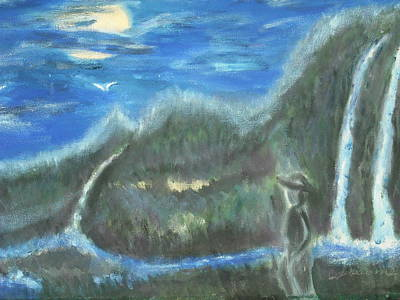 Feline Water Falls Art Print by BJ Abrams
