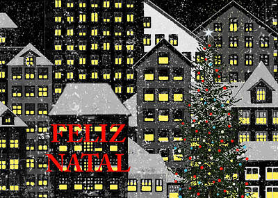 Berlin Night Painting - Feliz Natal 1 by Robert Todd