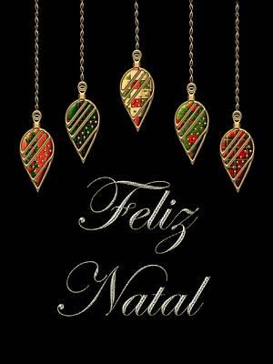 David Drawing - Feliz Natal Portuguese Merry Christmas by Movie Poster Prints