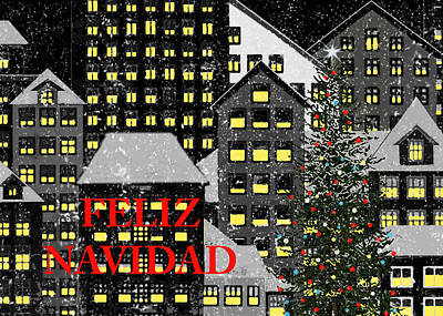 Berlin Night Painting - Feliz Navidad 1 by Robert Todd