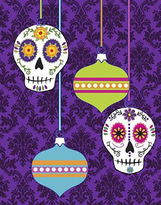 Digital Art - Feliz Navidad Holiday Sugar Skulls by Tammy Wetzel