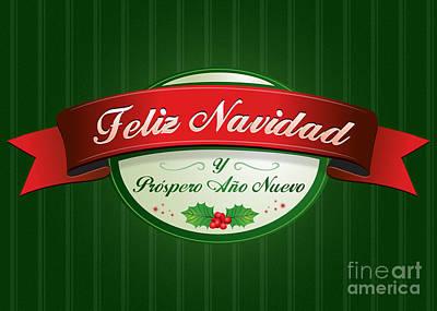 Digital Art - Feliz Navidad Ribbon by JH Designs