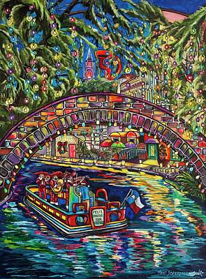 San Antonio Wall Art - Painting - Feliz Navidad San Antonio by Patti Schermerhorn