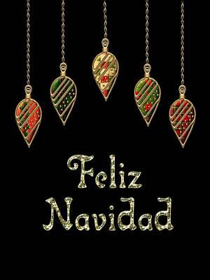 David Drawing - Feliz Navidad Spanish Merry Christmas by Movie Poster Prints