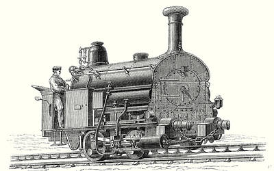 Nineteenth Century Drawing - Fell's Locomotive For The Rail Central Railway by English School