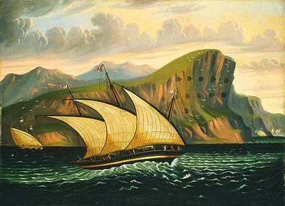 Painting - Felucca Off Gibraltar Fortifications by Thomas Chambers