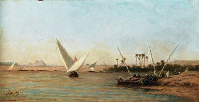Sea Painting - Felucca On The Nile With The Pyramids In The Background by Eastern Accent