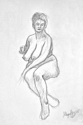 Female Nude. Nude Drawings Digital Art - Femal Nude Life Drawing Of Shoshanna 2015 by Wayne Higgs
