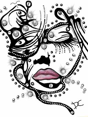 Digital Art - Female Abstract Face by Darren Cannell