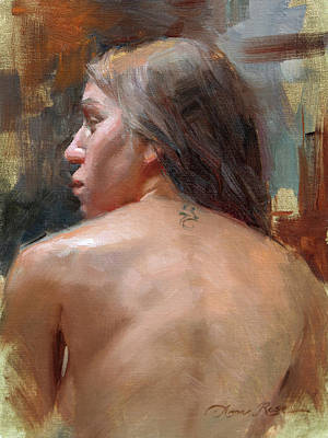 Figures Painting - Female Back Study by Anna Rose Bain