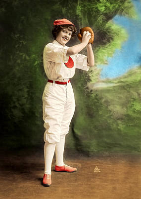 Photograph - Female Baseball Player by Maria Coulson