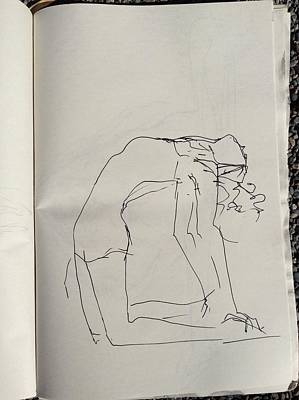 Drawing - Female Bending Backwards by Elizabeth Parashis