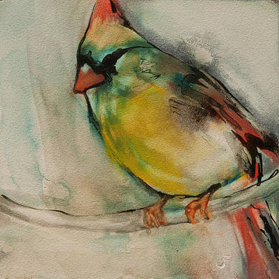 Painting - Female Cardinal 2 by Jani Freimann