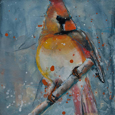Painting - Female Cardinal 3 by Jani Freimann