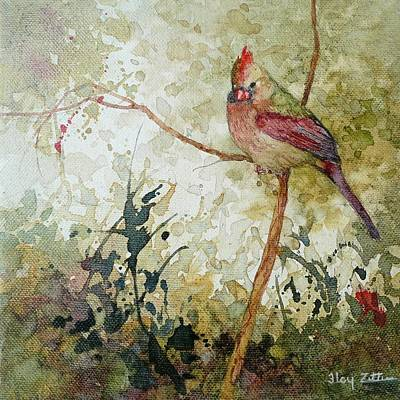 Wall Art - Painting - Female Cardinal by Floy Zittin