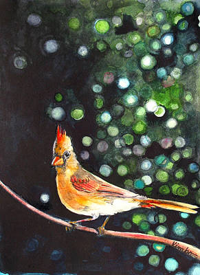 Painting - Female Cardinal by Kimbo Jackson
